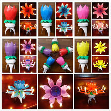 Spinning Musical Birthday 8 Candles Lotus Flower Sparkle Cake Topper Rotating