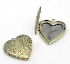 Wholesale HOT!Bronze Tone Photo Frame Setting Heart Locket Pendants