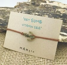 Mens Surfer style friendship bracelet on choice of MANgle card with Anchor Charm