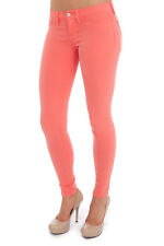 NWT! FLYING MONKEY HOT CORAL SUPER SKINNY SLIM STRETCH COLORED JEANS
