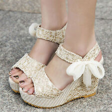 Summer Womens Lady Wedge Platform Sandals Bowknot Ankle Lace Strap Shoes Beige