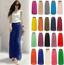 Women Double Layer Chiffon Pleated Long Maxi Dress Elastic Waist Beach Skirt