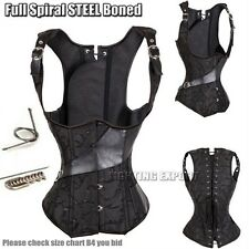 Basque Gothic Waistcoat Corset Lace up Steel Boned Brocade Steampunk Underbust