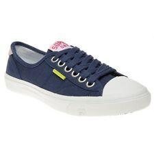 New Womens Superdry Blue Low Pro Canvas Trainers Plimsolls Lace Up
