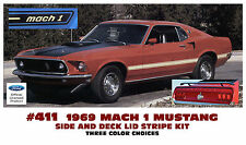 411 1969 FORD MUSTANG - MACH 1 SIDE and TRUNK STRIPE DECAL KIT - FORD LICENSED