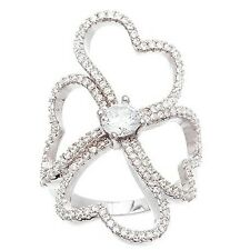 14K WHITE GOLD VERMEIL Pave Open Clear CZ Fancy Clover Knuckle Band Ring-925