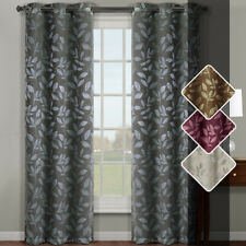 Claire Micro Suede Jacquard Blackout weave Grommet Curtain Panel Pair Set of 2