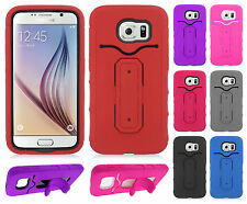 Samsung Galaxy S6 Rubber Hybrid HARD Case Cover Snap Tail STAND + Screen Guard