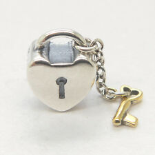 New Sterling Silver &  Gold Key to my heart Love Charms Valentine's Day gift
