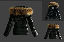 Warm Women Winter Outerwear Black Ladies Faux Fur Parka Hooded Jacket Coat