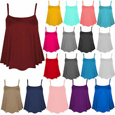 Womens Ladies Sleeveless Plain Swing Cami Strappy Flared Vest Top Plus size 8-26