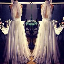 2015 White Ivory Chiffon Backless Long Prom Evening Dresses High Neck Beading