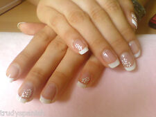 Nail Art Lace Stickers Decals Transfers WHITE SILVER Wedding Flowers Rhinestone