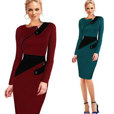 Womens Vintage Pinup Tunic Wear To Work Business Party Pencil Sheath Dress 497
