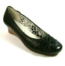 BOXX Ladies Womens Court Shoes Round Toes Black Leather Wedge Heels Size 4 5 7