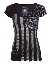 Archaic AFFLICTION Womens T-Shirt NATION Tattoo Biker USA FLAG Sinful S-XL $40 b