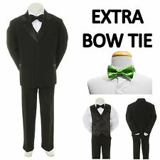 New Teen Boy Black FORMAL Wedding Prom Party Tuxedo Suit + Lime Bow Tie 16-20