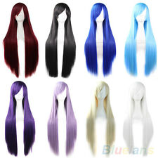 Korean Womens Ladys Synthetic Hair Long Anime Cosplay Wigs Straight Full Wigs