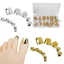 60 PCs Glue On METALLIC French False Fake Toe Nail Art Full Tips DIY Salon Decor