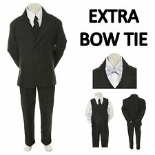 New Teen Boy Black FORMAL Wedding Prom Party Tuxedo Suit+ White Bow tie sz 16-20