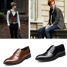 New Mens Spring Spectator Leather Shoes Cowhide Oxford Brogues with Thick Soles