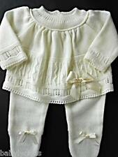 BABY GIRL OUTFIT SPANISH FINE KNIT PRETTY TOP BOOTEE PANTS 0M NEWBORN REBORN