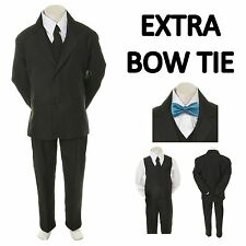 Teen Boy Black FORMAL Wedding Prom Party Tuxedo Suit+ Turquoise Bow tie sz 16-20