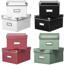 Ikea KASSETT Storage Box w/Lid 2-Pack - Office Organiser - CDs DVDs Photos Games