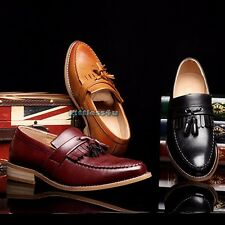 Men Leather Shoes Casual Tassel Fringe Brogue Loafer Oxford Slip On Lace Up New