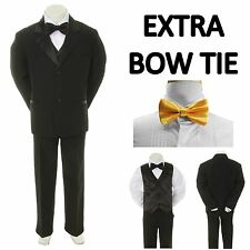 New Teen Boy Black FORMAL Wedding Prom Party Tuxedo Suit + Yellow Bow Tie 16-20