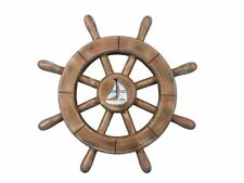 """Rustic Wood Finish Decorative Ship Wheel With Sailboat 12""""- Beach Decorating Ide"""