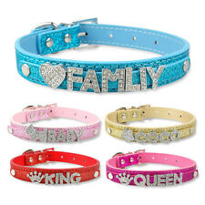 DIY Pet Collar Bling Letters Rhinestone Leather Personalized Dog Puppy Collars