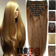 US Top 100% Real Clip in Remy Human Hair Extensions Full Head EP Weft US Stock