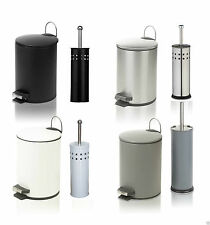 STAINLESS STEEL STEP FOOT PEDAL BIN / TOILET BRUSH HOLDER WASTE DUST BINS / SET