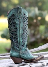 Women's Liberty Black Vintage Distressed Brown/Turquoise Leather Cowboy Boots
