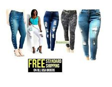 NEW jz2 WOMENS PLUS SIZE Stretch Distressed Ripped BLUE SKINNY DENIM JEANS pants