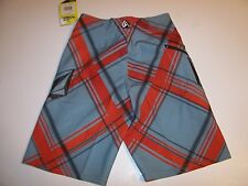 New Volcom youth boys board shorts swim trunks 4 way stretch 8 slim blue orange