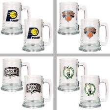 Choose NBA Basketball Team 2PC 15oz Glass Tankard Beer Mug Set - Primary Logo
