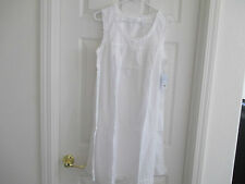NWT WOMEN DOTTED SWISS ADONNA WHITE KNEE LENGTH 100% COTTON NIGHTGOWN LG OR XLG