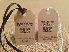 EAT ME DRINK ME Gift tags Wedding / Candy Bar. Kraft/Buff Vintage Shabby Chic