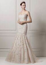 David's Bridal SAMPLE: Strapless Trumpet All Over Lace and Beaded Wedding Dre...
