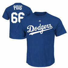 Majestic Yasiel Puig L.A. Dodgers Name and Number T-Shirt - Royal Blue - MLB