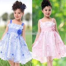 New Child Girls Clothing Pink blue Flower Bow Party Girls Dress Size 6-11Y