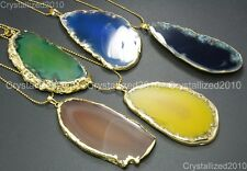 Natural Druzy Quartz Agate Gemstone Sliced Necklace Healing Pendan Beads Gold