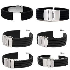 Silicone Rubber Watch Strap Band Deployment Buckle Waterproof 18/20/22/24mm