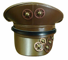 Steampunk SDL brown military style hat with copper cogs  detail