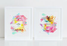 2 Perfume Illustration Watercolor Art Print Poster Wall Decor Colorful Art Home