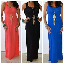 SOLID COLOR PLUS SIZE CASUAL MAXI SLEEVELESS TANK DRESS KNIT FULL LENGTH 1X - 3X