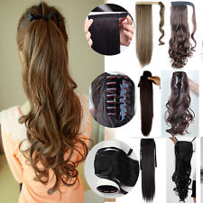 Binding Claw on Warp Around Ponytail Clip In Hair Extensions Straight Curly Wave