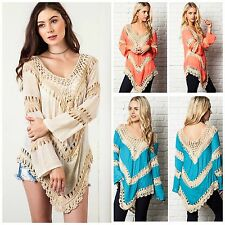 Umgee USA Crochet Mix Bohemian Hippie Long Tunic Top S M L TEAL CORAL NEON MANGO